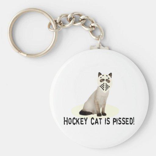 Hockey Cat Pissed Basic Round Button Keychain