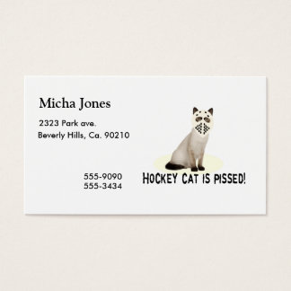 Hockey Cat Pissed Business Card