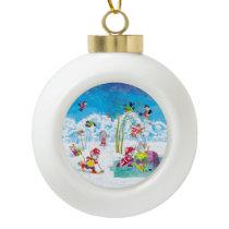 hockey ceramic ball christmas ornament