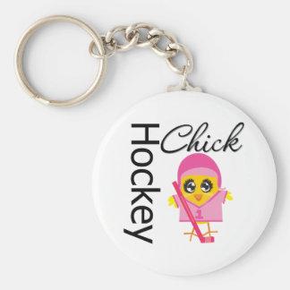 Hockey Chick Basic Round Button Keychain