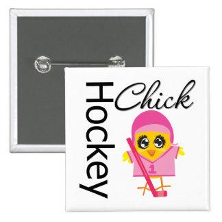 Hockey Chick Pinback Button