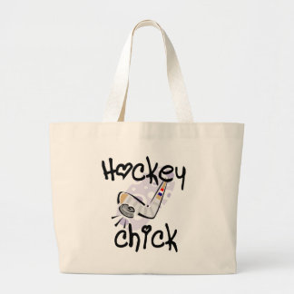 Hockey Chick T-shirts and Gifts Large Tote Bag