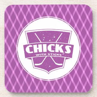 Hockey Chicks With Sticks Drinks Coasters