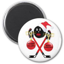 Hockey Christmas Magnet