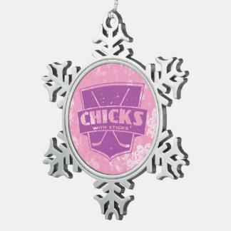 Hockey Christmas Snowflake Ornament, Xmas Chicks Snowflake Pewter Christmas Ornament