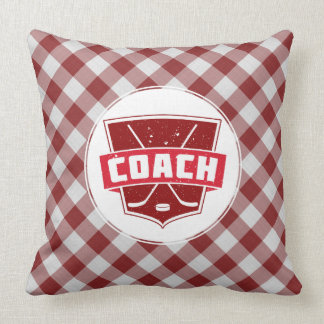Hockey Coach Red Gingham Throw Pillow
