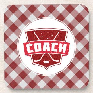 Hockey Coach Red Shield Drinks Coasters