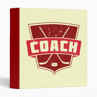 Hockey Coach Retro Style Shield 3 Ring Binder