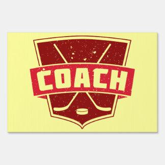 Hockey Coach Retro Style Shield Lawn Signs