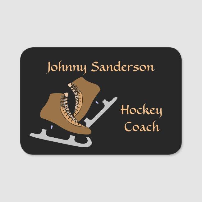 Hockey Coach Sports Name Tag