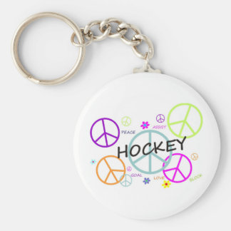 Hockey Colored Peace Signs Basic Round Button Keychain