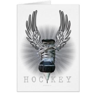 Hockey con alas tarjeta de felicitación