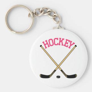Hockey Cross Sticks Basic Round Button Keychain