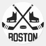 Hockey de Boston Pegatina Redonda