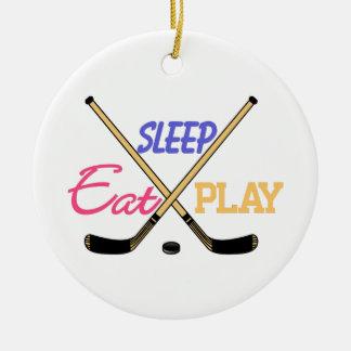 Hockey de Eat Sleep Play Adorno Navideño Redondo De Cerámica