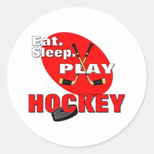 Hockey de Eat Sleep Play Pegatina Redonda