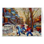 Hockey de la calle con 3 muchachos tarjeta de felicitación