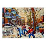 Hockey de la calle con 3 muchachos tarjetas postales
