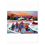 Hockey de la charca en el lago congelado postal