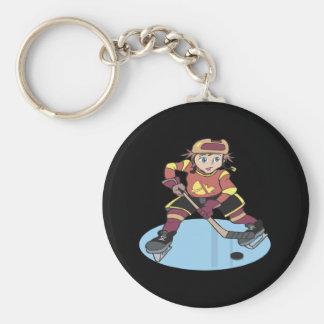 Hockey de la juventud llavero redondo tipo pin