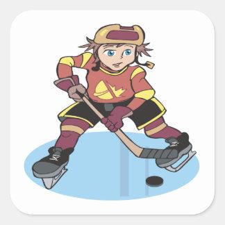 Hockey de la juventud pegatina cuadrada
