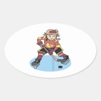 Hockey de la juventud pegatina ovalada