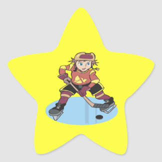 Hockey de la juventud pegatina en forma de estrella