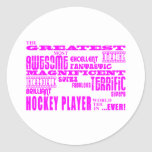 Hockey de los chicas: Jugador de hockey más grande Etiquetas Redondas