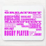 Hockey de los chicas: Jugador más grande rosado Mousepad