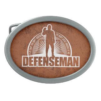 Hockey Defenseman Oval Belt Buckle