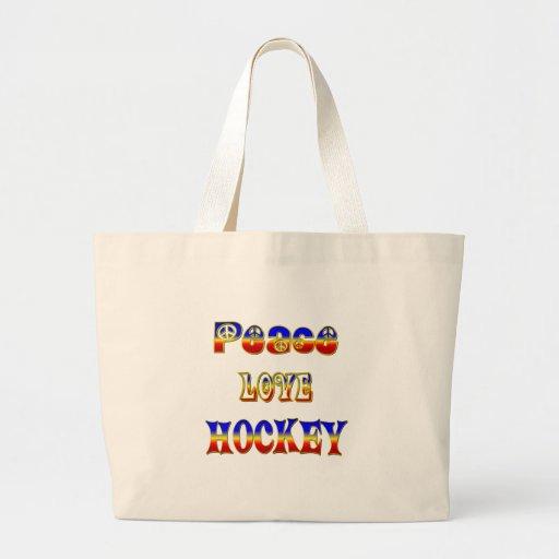 Hockey del amor de la paz bolsa tela grande