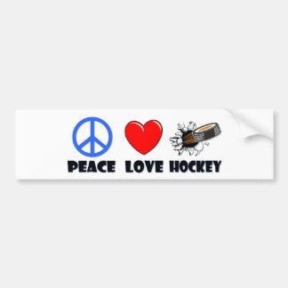 Hockey del amor de la paz pegatina de parachoque