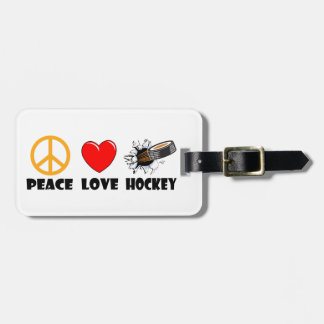 Hockey del amor de la paz etiqueta de maleta