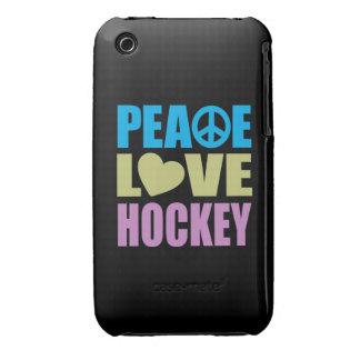 Hockey del amor de la paz iPhone 3 Case-Mate cárcasa