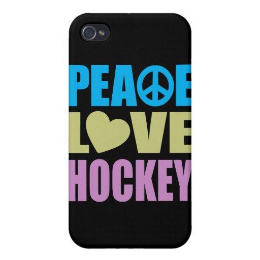 Hockey del amor de la paz iPhone 4/4S fundas
