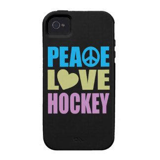 Hockey del amor de la paz iPhone 4 carcasa
