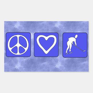 Hockey del amor de la paz rectangular pegatinas