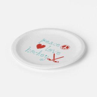 Hockey del amor de la paz plato de papel 17,78 cm