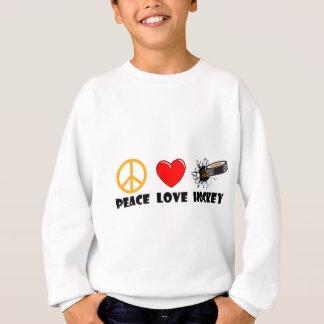 Hockey del amor de la paz sudadera