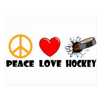 Hockey del amor de la paz postal