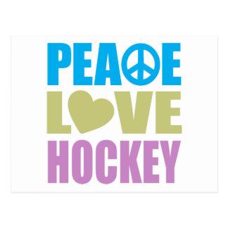Hockey del amor de la paz tarjetas postales