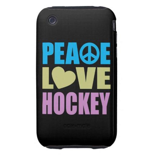 Hockey del amor de la paz tough iPhone 3 cárcasa
