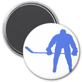 Hockey del azul real imán de nevera