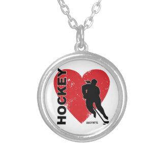 Hockey del corazón del amor colgante redondo