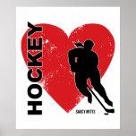 Hockey del corazón del amor póster