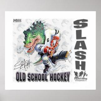 Hockey del dinosaurio de la raya vertical poster