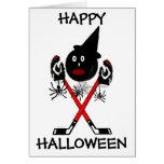 Hockey del feliz Halloween Tarjeta De Felicitación