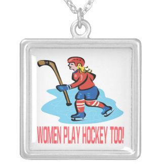 Hockey del juego de las mujeres también colgante cuadrado