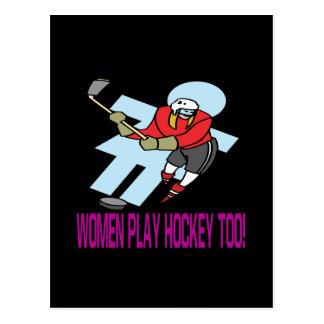 Hockey del juego de las mujeres también tarjetas postales