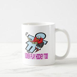 Hockey del juego de las mujeres también taza de café